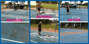 concrete cleaning tennis court cleaned